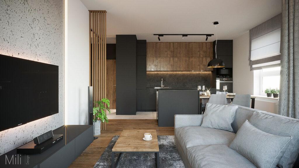 Widok kuchni z salonu, projekt mieszkania